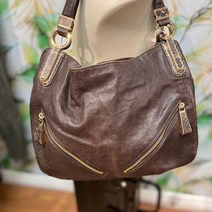 Michael Kors Brown Leather Python Accents Hobo Bag